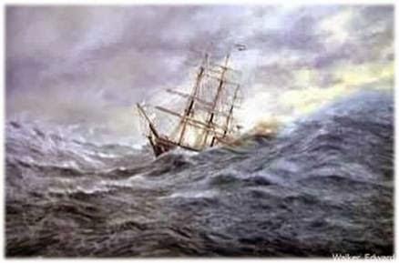 barco enfrentando tempestade
